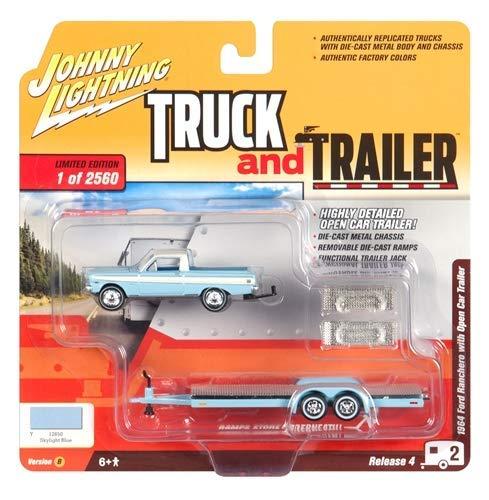 - 1964 Ford Ranchero Pickup Truck with Open Car Trailer Skylight Blue Ltd Ed to 2,560 pcs 1/64 Diecast Model Car by Johnny Lightning JLBT009 B