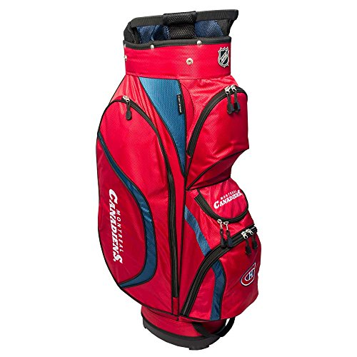 Team Golf NHL Montreal Canadiens Clubhouse Golf Cart Bag, Lightweight, 8-Way Top with Integrated Handle, 6 Zippered Pockets, Padded Strap, Towel Ring, Umbrella Holder & Removable Rain Hood ()