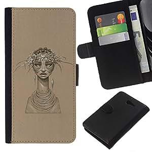 LECELL--Cuero de la tarjeta la carpeta del tirón Smartphone Slots Protección Holder For Sony Xperia M2 -- Mujer Africana --