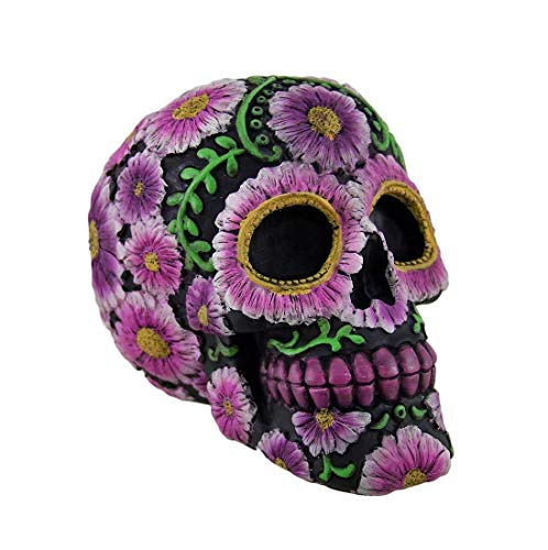 (CircuitOffice Black Pink Skull Bank, Floral Day The Dead Resin Toy Bank, Sugar Skull Coin Bank, 5 X 4 X 4 Inches, Gothic Gift)