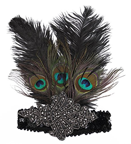 FAIRY COUPLE Peacock Feather Roaring 20's Sequined 1920s Flapper Headband (Flappers Couple Costumes)
