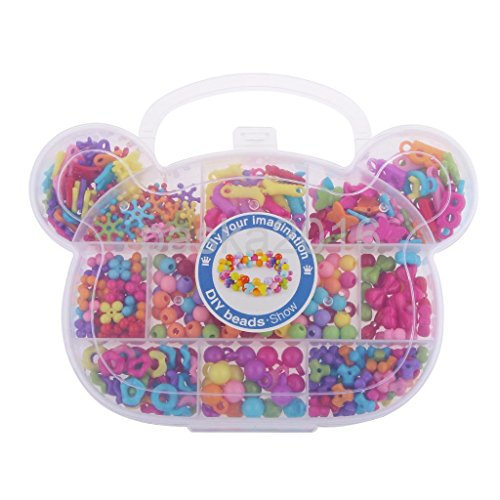 MAZIMARK--Kids Educational Bear Head Shape Box Beads Toys Gift Handmade DIY Training by MAZIMARK