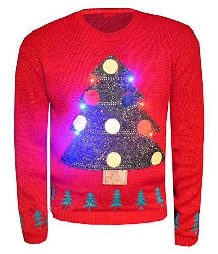 Girls Walk Womens Christmas Tree Led Light Xmas Novelty Jumper (Flashing Christmas Jumper)