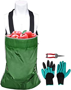 ESINGMILL Fruit Picking Bag, Heavy Duty Adjustable Harvest Garden Apron, Large Storage Pouch with Scissor and Gloves for Harvesting Vegetables Fruits Apple Mango Pear Peach Mango Kiwi Lemon Cherry