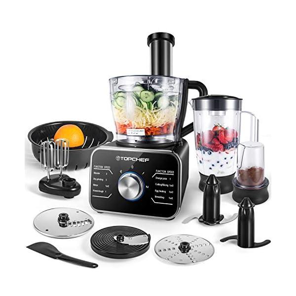 Topchef robot da cucina 1100W Robot da Cucina Compatto (con accessori inclusi: gancio per impastare, frullatore… 1