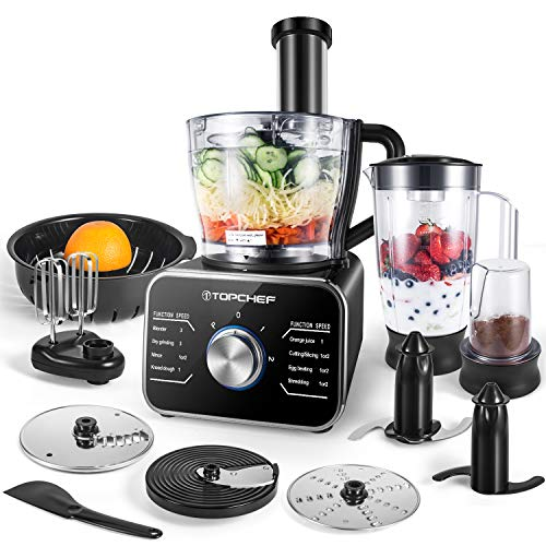Procesador de alimentos Topchef 1100W Procesador de alimentos compacto (con accesorios incluidos: amasador, licuadora, exprimidor y molinillo de café), capacidad 3.5L, plateado / negro
