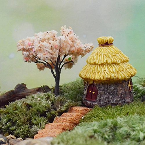 Mini Thatched House Miniatures Craft Landscape Cottage Terrarium Fairy Garden Moss Resin Decorations For Home Garden DIY