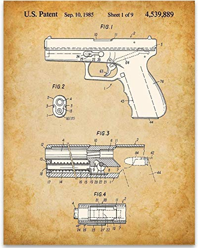 Glock Pistol Gun Patent - 11x14 Unframed Patent Print - Great Gift Under $15 for Gun Owners