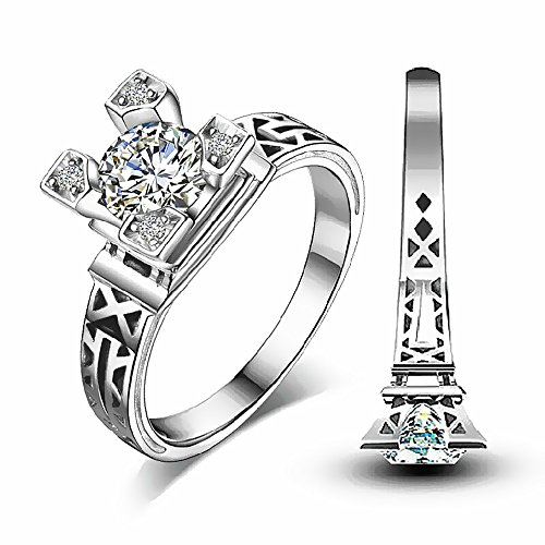 Silver & CZ Diamonds Eiffel Tower Ring