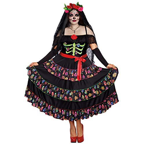 Dia De Los Muertos Plus Size Costumes (Dreamgirl Women's Lady of The Dead Plus Size, Multi,)