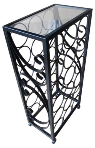 PTC Home & Garden 18-Bottle Wine Rack with Square Glass Table Top