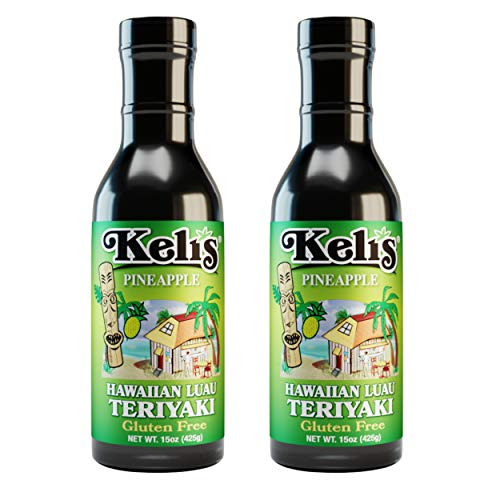 Keli's Pineapple Hawaiian Luau Teriyaki, Gourmet Pineapple Teriyaki Marinade and Huli Huli Basting Sauce. Healthy Teriyaki Sauce Low Sodium & Gluten Free - Made With Gluten Free Soy Sauce (15oz) (Pack