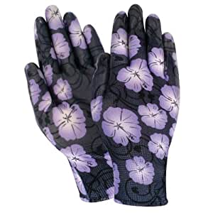 Red Steer A209-S Flowertouch Womens Hibiscus Pattern Clear Coat Nitrile Glove, Small