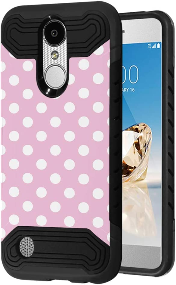 Case Compatible with LG Aristo 2 (X210), Aristo 2 Plus, Fortune 2, Rebel 3, Risio 3, Tribute Dynasty, Zone 4, K8, K8 Plus 2018 [Moriko Slim Black Case] for LG Aristo (Polka Dot Pink)