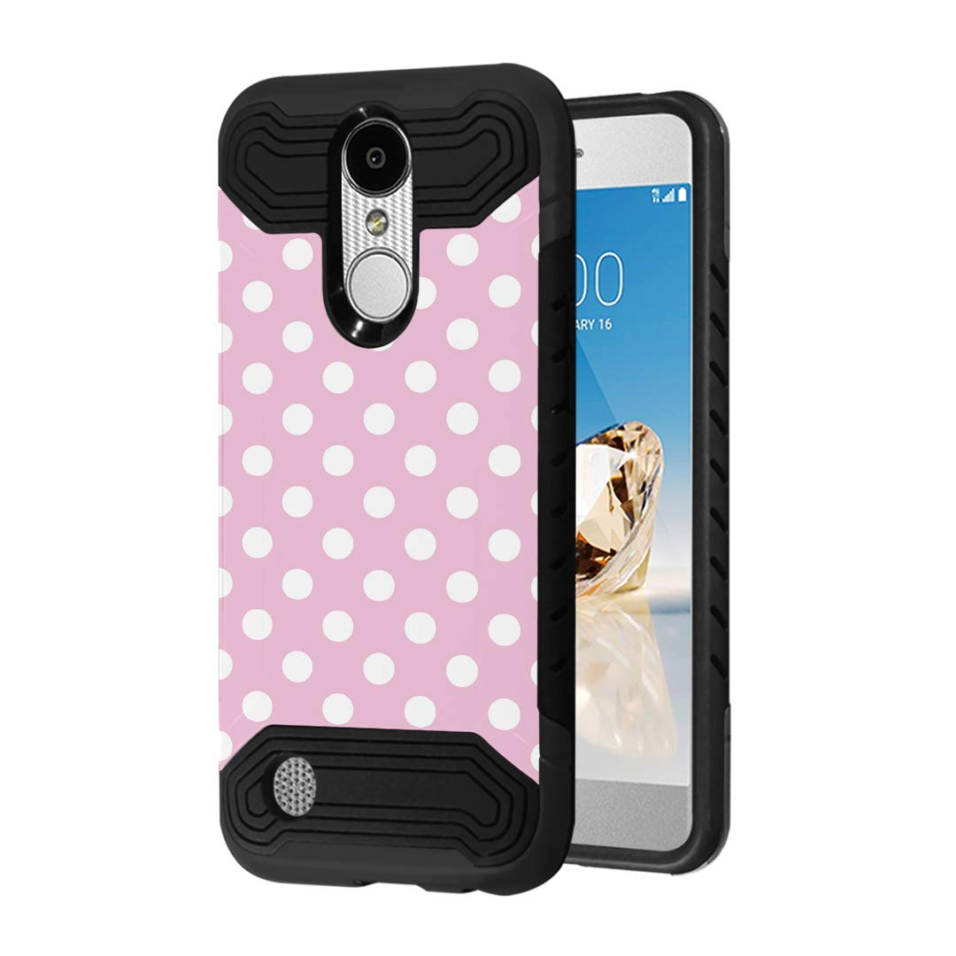 Quantum Case Compatible with LG Aristo 3, 3 Plus, Rebel 4 LTE [Moriko Premium Dual Layer Hybrid Shockproof Slim Armor Black Case Cover] for LG Aristo (Polka Dot Pink)