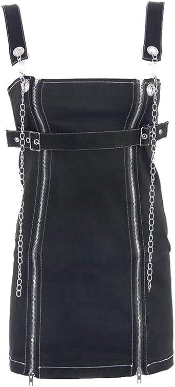 Mengyu Peto de Falda Cortos para Mujer Vestido Peto Negro L ...