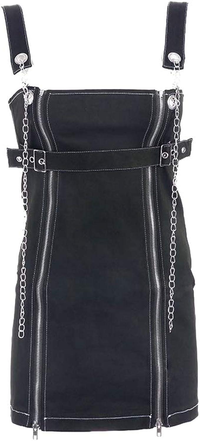 Mengyu Peto de Falda Cortos para Mujer Vestido Peto Negro L: Amazon.es: Ropa y accesorios
