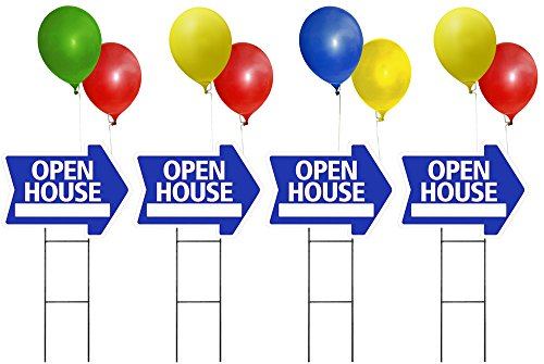 OPEN HOUSE Sign Kit with Balloons - Arrow Shape Corrugated Sign INCLUDES 4 24