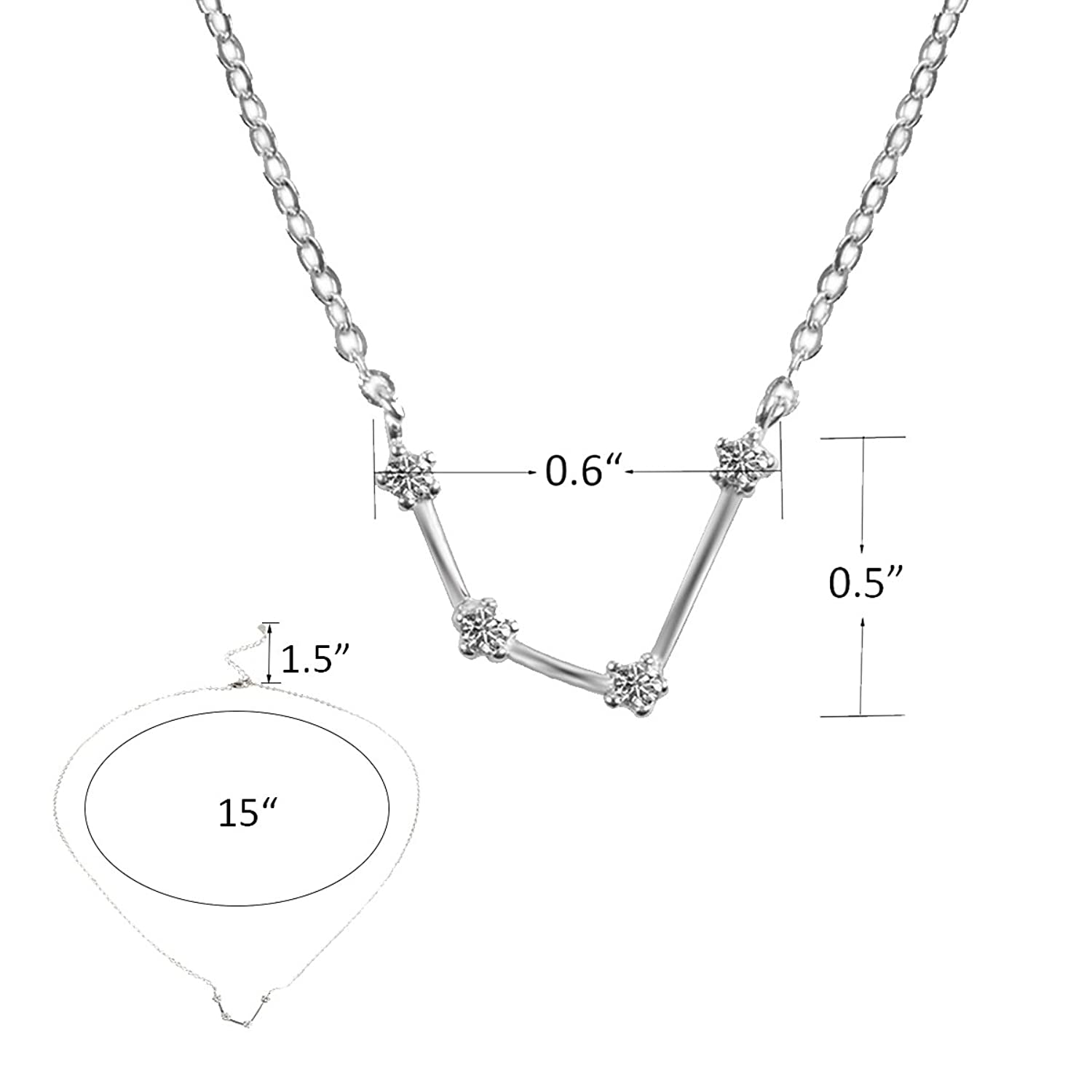 Amazon tqs horoscope plated silver necklace zodiac sign amazon tqs horoscope plated silver necklace zodiac sign pendant constellation charm astrology choker aquarius jewelry biocorpaavc Image collections