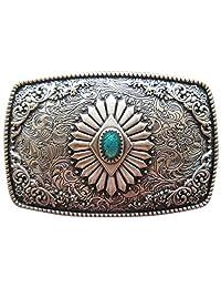 Vintage Silver Plated Original Southwest Enamel Totem Rectangle Belt Buckle