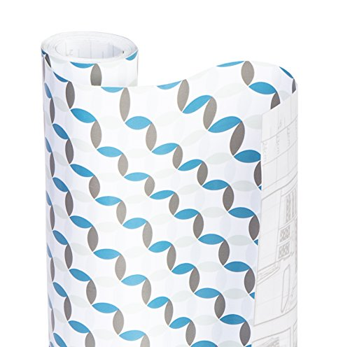 Smart Design Shelf Liner w/Decorative Adhesive - Washable Cutable Material - Non Slip & Peel Design - for Shelves, Drawers, Flat Surfaces - Kitchen (18 Inch x 20 Feet) [Ocean Origami]
