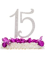 Ella Celebration 15 Cake Topper 15th Birthday Anniversary Quinceañera Party Supplies Rhinestone Number Decoration (Silver)