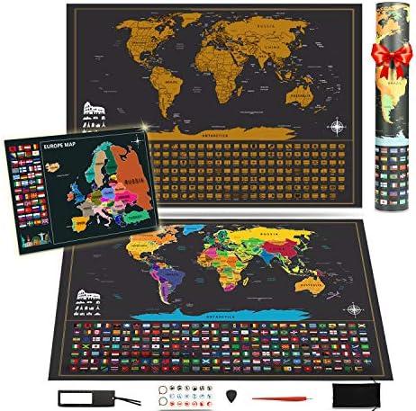 KOOOPER Mapa del Mundo, Mapa Mural para Rascar del Mundo 255*165mm y 180*130mm - País, las Ciudades que Visitó - para Viajeros/Exploradores/Coleccionistas, etc - Con Pegatinas + Herramienta de Rayado: Amazon.es: Oficina