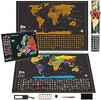 Koooper Mappa del mondo, Mappa da Grattare 640 * 430mm + Offerta gratuita Una Mappa dell'Europa 460 * 340mm e 3 Stili di Adesivi - Perfetto per Viaggiatori / Esploratori / Collezionisti, Ecc