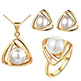 Onefeart Rose Gold Plated Necklace Pendant Earrings Ring Set Women Pearl Freshwater Pearls Triangle Shape