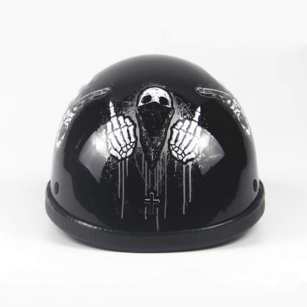 Certification Dot Casque de Protection personnalis/é pour l/ét/é Casque de Moto r/étro Harley 55-60CM pour Adulte MMRLY Demi-Casque de Moto /à Face Ouverte ,matteblack