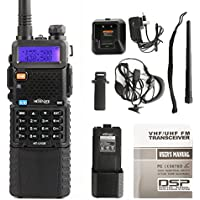 HESENATE HT-UV5R Plus HAM Two-way Radio 5-Watt w/ 3800mAh Extended Battery Dual-Band 136-174/400-520MHz Walkie Talkie FM Transceiver