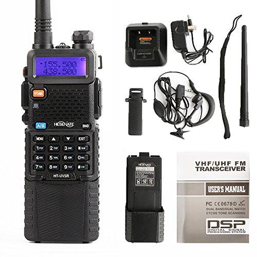 HESENATE HT-UV5R Plus HAM Two-Way Radio 5-Watt w/ 3800mAh Extended Battery Dual-Band 136-174/400-520MHz Walkie Talkie FM Transceiver