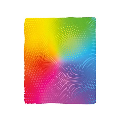VROSELV Custom Blanket Rainbow Vibrant Neon Colors Circles Rounds Dots Radiant Composition Iridescent Effect Print Bedroom Living Room Dorm Multicolor