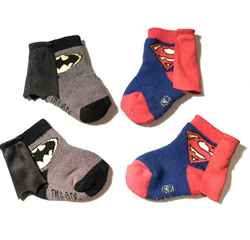 Batman and Superman Infant Baby Toddler Cape Socks Bundle 0-12 Months (2 Items) (Superman Adult Onesie)
