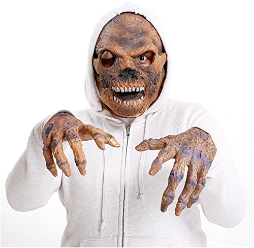 Scary Mask For Halloween - Realistic Latex Zombie Skeleton Face & Hands Costume