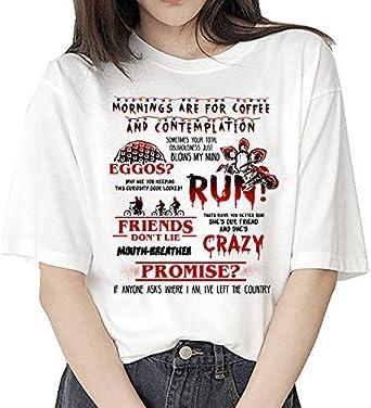 Camiseta Stranger Things Niña, Camiseta Stranger Things Mujer, Impresión T-Shirt Abecedario Camiseta Stranger Things Temporada 3 Camisa de Verano Regalo Camisetas y Tops: Amazon.es: Ropa y accesorios