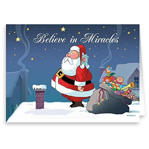 Believe Card - Do You Believe in Miracles- Funny Christmas Card 18 Cards & Envelopes
