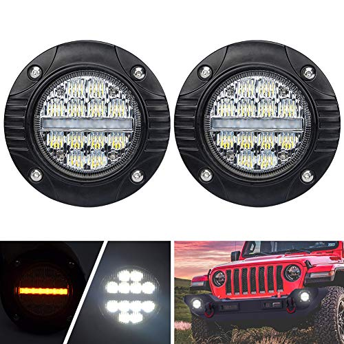 Short Turn Signal Mounts - Liteway 4Inch Flush Mount Led Pods with Turn Signal Lamp - 3840 LM Flood Spot Combo Beam Fog Lights - Waterproof Driving Light Flush Mount for Jeep Truck Tacoma Bumper ATV UTV