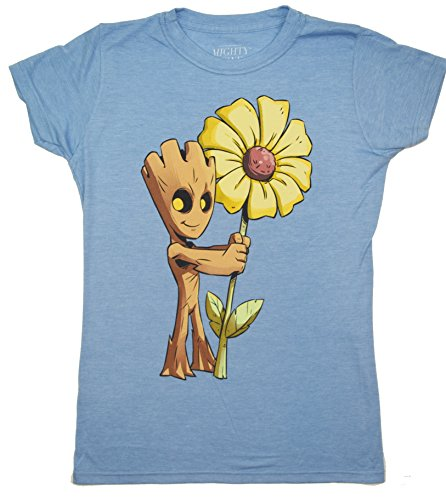 Guardians Of the Galaxy Vol 2 Baby Groot Flower Juniors T-shirt (Small, Heather Blue)