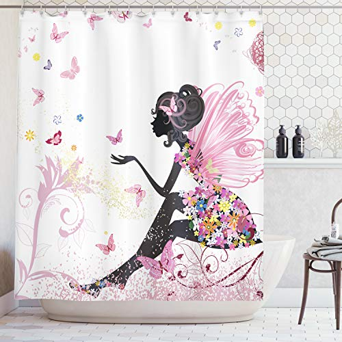 Pink Butterfly Girl with Floral Dress Flower Design Fairy Angel Wings FAE Home Accent Soft Colors Modern Designer Feminine Decor Dreamy Folklore Shower Curtain, Pink White
