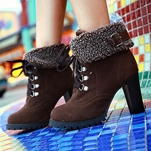 hunpta Women's Winter Casual Plush Boots Lace-up High Heel Ankle Boots Brown dtGurIj3