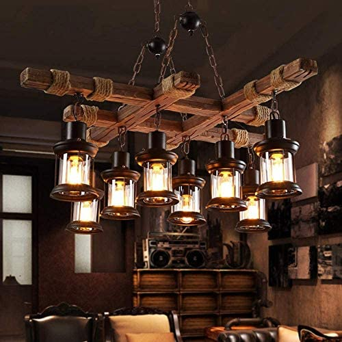 8 Lights Industrial Wooden Hanging Lighting Black Metal Chandelier Farmhouse Vintage Pendant Lamp Glass Lampshade