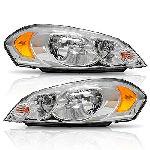Headlights Assembly for 2006-2013 Chevrolet Impala 14-16 Impala Limited 2006 2007 Monte Carlo Replacement Headlamp Driving Light 25958359 25958360(Chrome Housing) ()