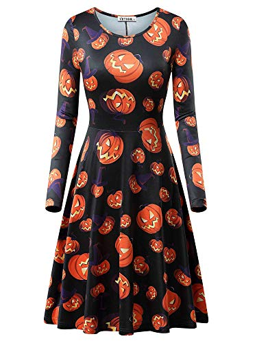 VETIOR Womens Purple Hats Pumpkin Printed Halloween Skater