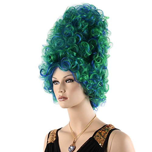STfantasy 60s Beehive Wig Curly Long Large Green Ombre Blue Highlights Synthetic Hair for Women Cosplay Costume Party]()
