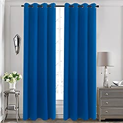 """Aquazolax Thermal Insulated Curtains Blackout Draperies Window Treatment Solid Grommet Room Darkening Drape Panels for Bedroom, 1 Pair, 54"""" x 72"""", Royal Blue"""