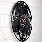 Vinyra Steampunk Owl Vinyl Record Clock - Industrial Wall Clock Gears Decor Retro Wall Gothic Grandfather Vinyl Gift Victorian Wall Decal Steampunk Novelty Owl Vinyl Clock Black 7