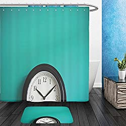 Vanfan Bathroom 2?Suits 1 Shower Curtains & ?1 Floor Mats clock on mint green wall background vintage effect concept of time 316548389 From Bath room