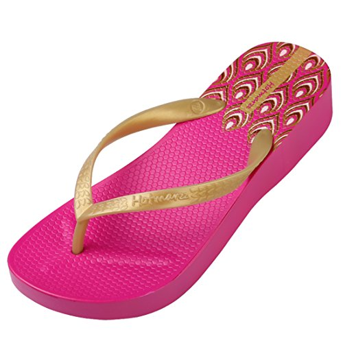 Hotmarzz Women's Floral Pattern Wedge Flip Flops Platform Sandals High Heel Slippers Size 8 B(M) US / 39 EU, Floral Rose Red