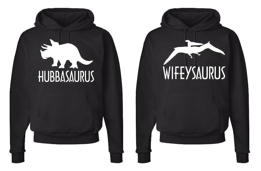 FASCIINO Matching His /& Hers Couple Hooded Sweatshirt Set HUBBASAURUS and WIFEYSAURUS